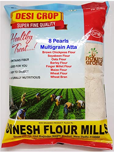 Special Multi Grain Atta 8 Pearls 5 KG by DINESH FLOUR MILLS (1Kg x 5Packets)