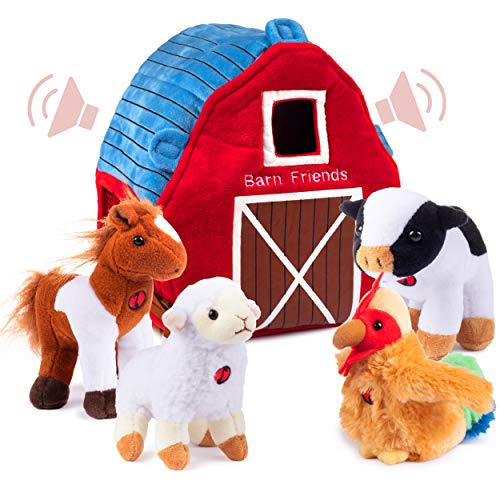 Plush Farm Animals for Toddlers with Barn Carrier. w/ 4 Talking Soft Stuffed Animals, Cow, Horse, Lamb and Rooster