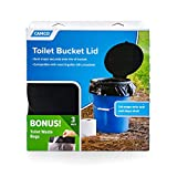Camco Toilet Seat with Lid with Leak Proof Waste Bags - Transforms Standard 5 Gal. Buckets Into a Portable Toilet, Great for Camping, Hiking and Hunting and More (51546)