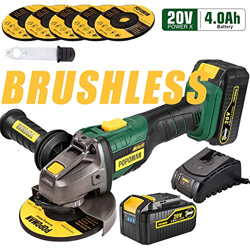 Angle Grinder Cordless, POPOMAN 20V 5 Inch Brushless Angle Grinder 10000RPM/4.0Ah Li-Ion Battery, 3-Position Adjustable Auxiliary Handle, 5pcs Grinding Wheel 5', Fast Charger