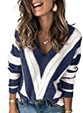 Asvivid Color Block Sweaters Striped V Neck Sweaters for Women Fall Long Sleeve Knitted Sweater...