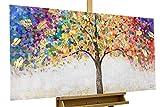 KunstLoft® Acryl Gemälde 'Locus Amoenus' 120x60 | original handgemalte Leinwand Bilder XXL | Baum Natur Bunt Gold | Wandbild Acrylbild Moderne Kunst einteilig mit Rahmen