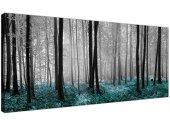 Wallfillers® - Lienzo impreso con el diseño de un bosque en tonos blanco, negro y azul verdoso