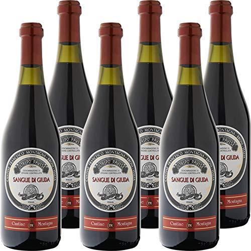 Sangue di Giuda dell' Oltrep Pavese Doc | Cantine Montagna | Vino Rosso Dolce | Confezione da 6 Bottiglie da 75 Cl | Idea Regalo