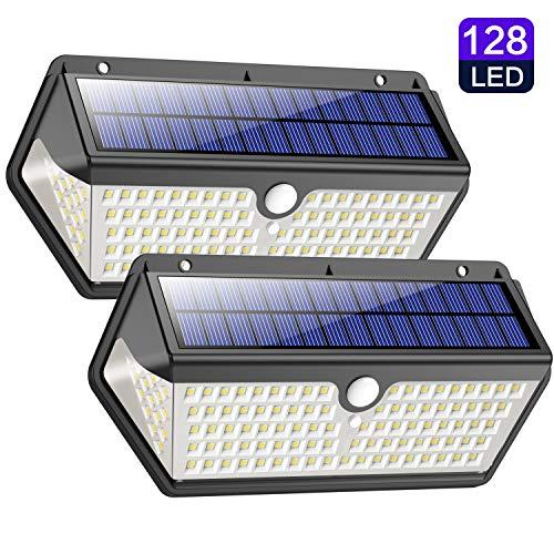 Solarleuchte für Außen,【Wasserdichte Langlebige Version】Trswyop 128LED Solarlampen für Außen mit Bewegungsmelder 270°Solar Wandleuchte Aussen 3 Modi 2200mAh Solar Aussenleuchte für Garten [2 Stück]