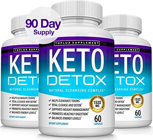 Keto Detox Pills Advanced Cleansing Extract – 1532 Mg Natural Acai Colon Cleanser Formula Using Ketosis & Ketogenic Diet, Flush Toxins & Excess Waste, for Men Women, 60 Capsules, Toplux Supplement 1
