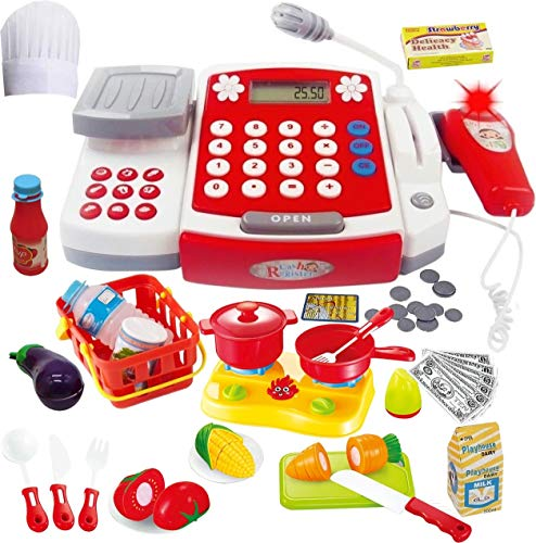 Toy Cash Register with Scanner - Microphone - Calculator - Play Pots and Pans - Cutting Play Food & Chef Hat   Play Restaurant/Grocery/Supermarket Cashier Toy