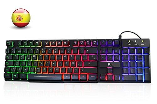 Rii RK100+ Novedoso Teclado USB Retroiluminado,Colores Rainbow y Panel...