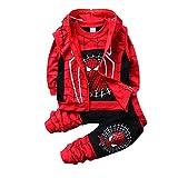 Set di Abbigliamento Bambini Completino Spiderman Maniche Lunghe Tute Ragazze Felpa con Cappuccio Camicie e Pantaloni Pullover (D Black,110cm)