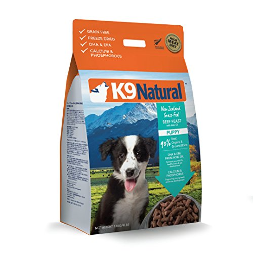 Freeze Dried Puppy Food By K9 Natural - Perfect Grain Free, Healthy, Hypoallergenic Limited Ingredients For All Puppys - Raw, Freeze Dried Food Or Mixer - Beef & Hoki Oil - 4Lb Pack