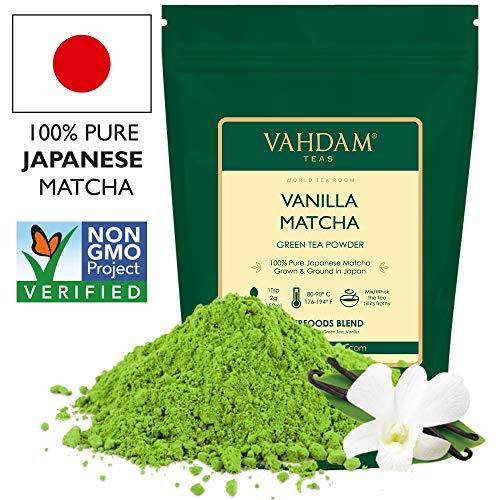 VAHDAM, Vanilla Matcha Grüner Tee | 100{106267df52193e05580399e26199494618551adc30e7364c4d8d36b518c33ec7} REINER japanischer Herkunfts-Matcha-Teepulver | 137x ANTI-OXIDANTEN | Grüner Tee zur Gewichtsreduktion und zur täglichen Entgiftung | Japans SUPER FOOD