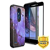 TJS Phone Case for LG K10 2018/K30/Premier Pro LTE/Harmony 2/Phoenix Plus/Xpression Plus, with [Tempered Glass Screen Protector] Dual Layer Hybrid Shockproof Drop Protection Rugged Cover (Stardust)