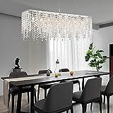 Modern Rectangular Crystal Chandelier, Siljoy L40' Luxury Linear Raindrop Pendant Lighting 8-Lights Hanging Ceiling Light Fixture for Dining Room Kitchen Island