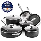SKY LIGHT Nonstick Cookware Set, 10 Piece Stone-Derived Cooking Pots and Pans with Lids, Home Kitchenware with Saucepan, Frying Pan, Stockpot, Induction Compatible, Oven Safe