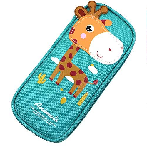 Ouceanwin Giraffa Astuccio,Animale Astuccio Quadrato Per Matite, Grande Astuccio Matite in Tela, Kawaii Sacchetto Con Cerniere Cancelleria Per Ragazzi e Ragazze Bello Giraffa Blu