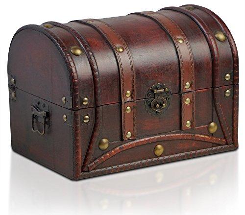 Brynnberg - Caja de Madera Cofre del Tesoro Pirata de Estilo Vintage, Hecha a Mano, Diseño Retro 25x18x18cm