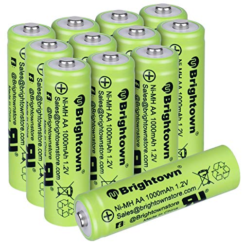 NiMH Rechargeable AA Battery Pack of 12, High Capacity 1000mAh 1.2v Pre-Charged Double A Battery for Solar Lights, Battery String Lights, TV Remotes, Wireless Mouses, Radio, Flashlight