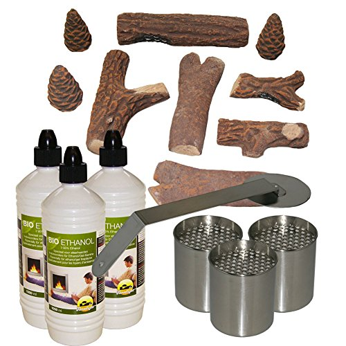 Ceramic Wood Reproduction + 3L bioethanol + 3 Fuel cans + fire Stopper for Gel Fireplace Table Fireplace bioethanol