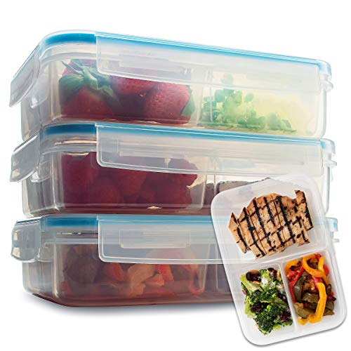 Komax Biokips Set of 3 Lunch Containers   37-oz Compartment Divided Lunch Containers   BPA-Free Lunch Containers for Adults & Kids   Meal Prep & Portion Control Bento Box   Microwave & Dishwasher Safe