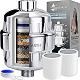 Aqua Earth 15 Stage Shower Filter with Vitamin C Shower Filters for Hard Water Unique Coconut Shell Activated Carbon Technology   Best Removes Chlorine Fluoride Heavy Metals & Other Sediments