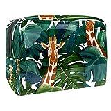 Bolsa de maquillaje portátil con cremallera bolsa de aseo de viaje para las mujeres práctico almacenamiento cosmético bolsa exótica palmera jirafa
