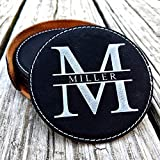 Set of 6 Personalized Leatherette Coasters. Custom Wedding Gifts and Bridal Shower Gifts. Coasters for Drinks. Engraved Round Coaster