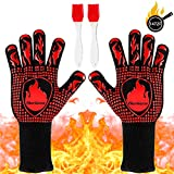AerWo BBQ Grill Gloves,1472℉ Heat Resistant Grilling Gloves Barbecue Oven Gloves with 2 Brushes,...