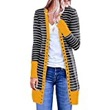 Long Sleeve Cardigan HAALIFE‿ Women Boho Open Front Colorblock Stripe Long Sleeve Loose Knit Lightweight Sweaters Yellow