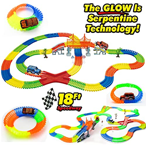 Magic Glow Race Tracks Toy with 2 LED Light Race Cars and 18 ft Glow...