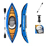 Bestway Hydro-Force Cove Champion Inflatable Kayak Set   Includes Double-Sided Paddle, Extra Storage, Grab Rope, & Hand Pump   Convenient & Portable Kayak