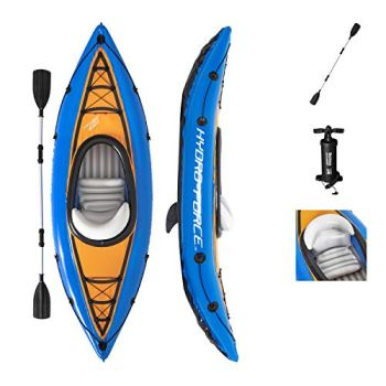 Bestway Hydro-Force Cove Champion Inflatable Kayak Set | Includes Double-Sided Paddle, Extra Storage, Grab Rope, & Hand Pump | Convenient & Portable Kayak