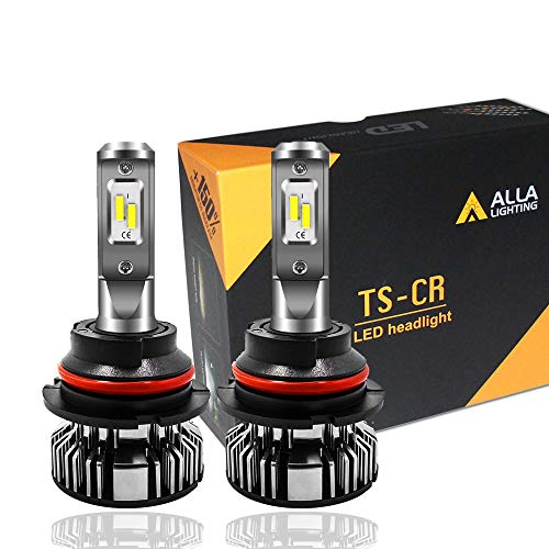 Alla Lighting 10000lm 9007 LED Headlights Bulbs Extremely Super Bright LED 9007 Bulb TS-CR Dual High Low Beam Headlights Replacement, 6000K Xenon White