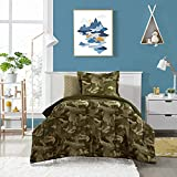 Dream Factory Kids 5-Piece Complete Set Easy-Wash Comforter Bedding, Twin, Green Geo Camo