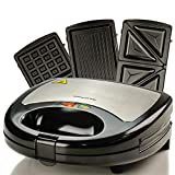 Ovente Sandwich Maker 750 Watts with 3 Interchangeable Non-Stick Plates (Sandwich, Waffle, and Grill), Compact and Easy to Clean, Power On Indicator Light for your Safety, Black (GPI302B)
