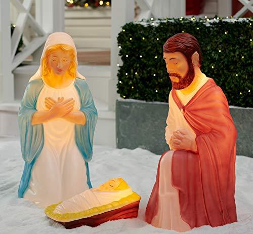 Light up 3 piece Nativity Scene Holy Family Set Christmas Decoration Durable