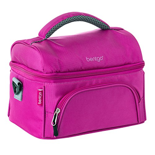 Bentgo Lunch Bag (Purple) - Insulated Lunch Tote for Work and School with Top and Main Compartments, 2-Way Zipper, Adjustable Strap, and Front Pocket - Fits All Bentgo Lunch Boxes and Other Containers