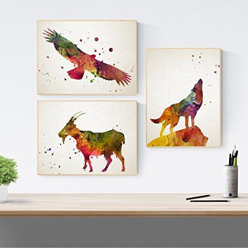 Nacnic Set di 3 Stampe artistiche con Immagini di Animali (Lupo, Capra, Aquila) Stile Nordico, acquerelli. Arreda Il Tuo Soggiorno, la cameretta dei Bambini o