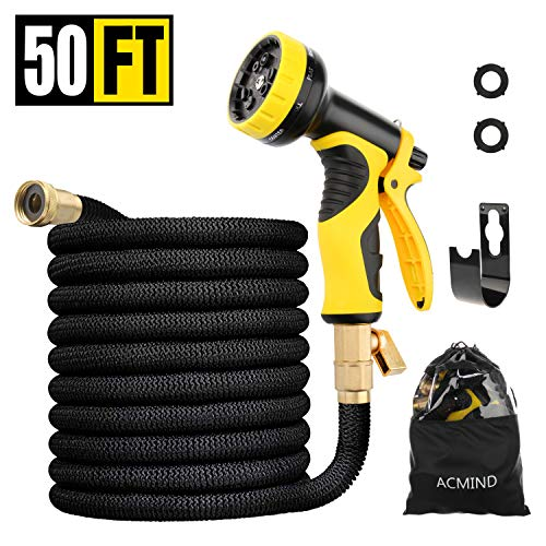 Acmind 50FT Expandable Garden Hose, Extra Strength Fabric and Double Latex Core Water Hose, 3/4' Solid Brass Fittings Flexible No-Kink Expanding Hose with 9 Function Spray Nozzle