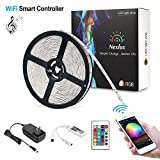 Nexlux Led Light Strip, WiFi Wireless Smart Phone Controlled 32.8ft Non-Waterproof Strip Light Kit White PCB 5050 LED Lights,Working with Android and iOS System,IFTTT