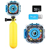 iMoway Kids Camera, Waterproof Video Cameras for Kids HD 1080P Kids Digital Cameras Camcorder with 16GB Memory Card, Card Reader and Floating Hand Grip (Blue)