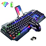 Wireless Keyboard and Mouse,Rainbow LED Backlit Rechargeable Keyboard Mouse with 3800mAh Battery Metal Panel,Mechanical Feel Keyboard and 7 Color Gaming Mute Mouse for Windows Computer GamersRainbow