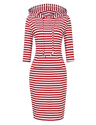 Features-3/4 Sleeve/Short Sleeve Pullover Hooded Sweatshirt Dress,Pocket,Solid Color/Striped,Drawstring,Slim Fit,Casual,Hoodie Sport Dress. Occasion-This Hooded Dress Suitable for Casual,Outdoor,Traveling,Sports,Working,Running,Jogging,Dating,Leisure...