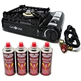 Gas ONE GS-3900P New Dual Fuel Propane or Butane Portable Stove with Brass Burner Head, Dual Spiral...