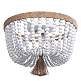 VILUXY Bohemia Wood Beaded Flush Mount Ceiling Light Antique Rustic Mini Chandelier White Finishing for Bedroom, Kitchen Island, Gril Room 3-Light