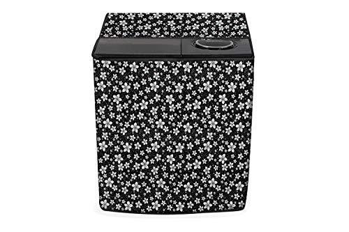 Stylista Top Load Semi Automatic Washing Machine Cover Compatible for Godrej 7.5 kg, 8 kg, 8.2 kg, 8.5 kg & 9.5 kg Floral Pattern Black