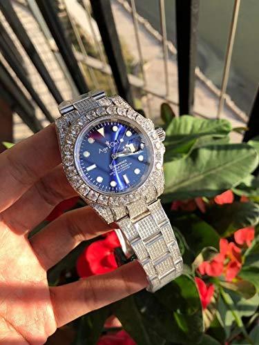 Llzka Herren große Diamant Lünette automatische 904L Edelstahl Saphir Uhr 45mm blau