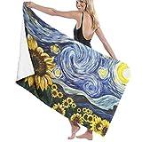 Pintura Girasol Toalla de baño Playa SPA Ducha Baño Envoltura Luz Suave Cómodo Seca rápido