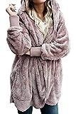 Zilcremo Mujer Lana Chaqueta Crdigan con Capucha Frente Abierto Abrigo Fleece de Piel Sinttica...