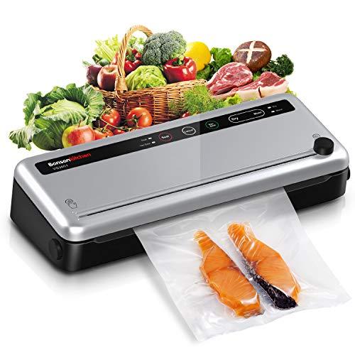 Macchina Sottovuoto per Alimenti Professionale, Bonsenkitchen Sigillatore sottovuoto per alimenti freschi sia secchi che umidi,con 1 Roll sacchetti sottovuoto per alimenti
