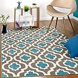 Antep Rugs Kashan King Collection Trellis Polypropylene Indoor Area Rug (Blue/Cream, 5' x 7')